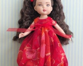 """Balloon Dress, Party Dress for Tiny Betsy McCall, Patsyette or Kick It 8"""" Tonner Dolls Clothes, Orange and Red"""