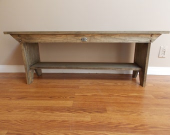 STORAGE BENCH VINTAGE-Style..Solid Quality Clear Wood..Hand rubbed Distressing..Wood Buttons..DesignersShowcase Exclusive..Bench Charm..