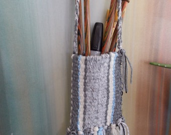 WOVEN WALL HANGING     Soft Basket....Fiber Art....Wall Art...Blues.. GraysOff White...Pencil and Brush Wall Holder..Home or Office