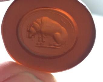 Antique Victorian Glass Wax Seal Lion   @CELESTEANDCOGEMS