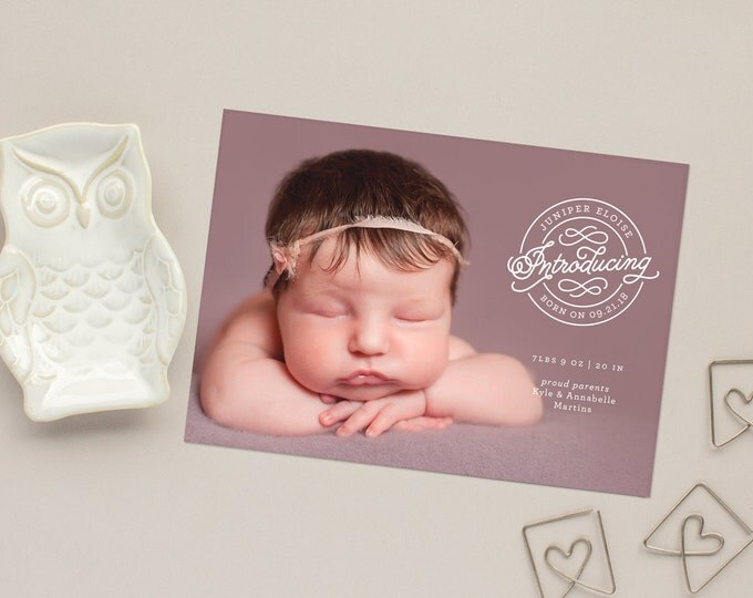 Photo Birth Announcement, Gender Neutral Announcements, Full Bleed Newborn Photo Cards, Modern Birth Announcements | Sealed