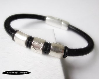 Women's Leather Bracelet - Black with Antique Silver Heart and Rectangular Sliders, Magnetic Clasp