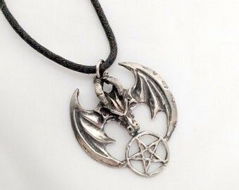 Dragon with pentacle pewter pendant hand casted, wiccan, renaissance,garb