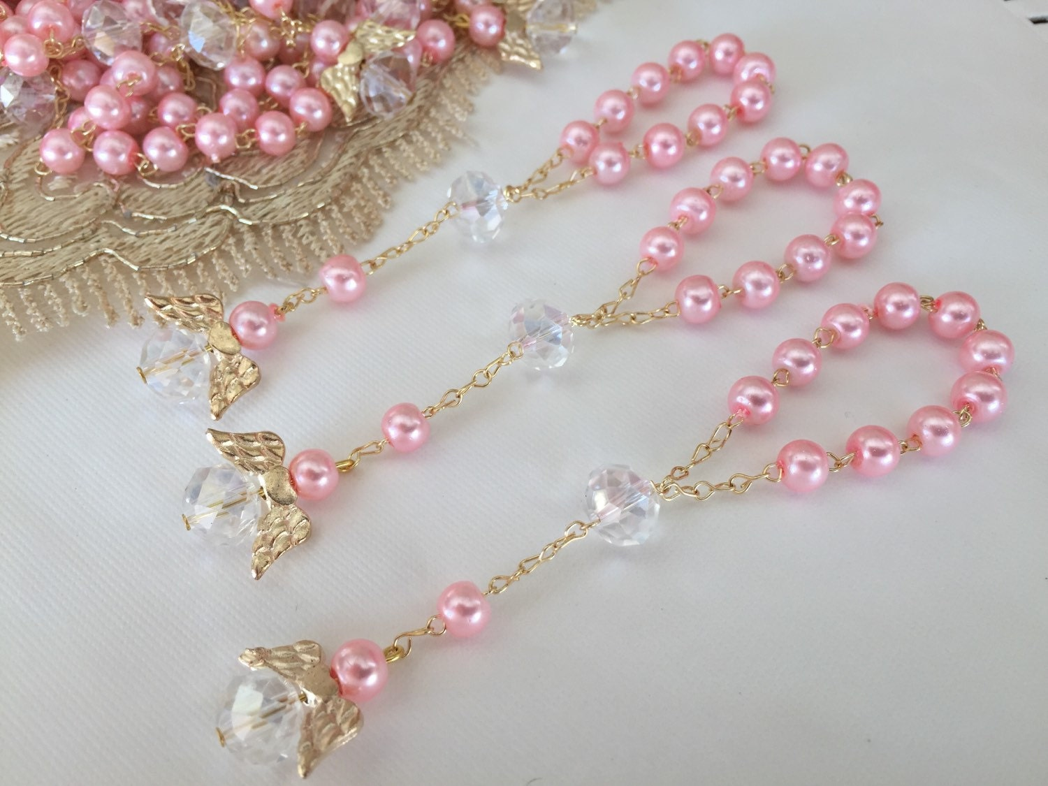 45 pcs angel baptism favors pink crystal pearls communion - Recuerdos para regalar ...