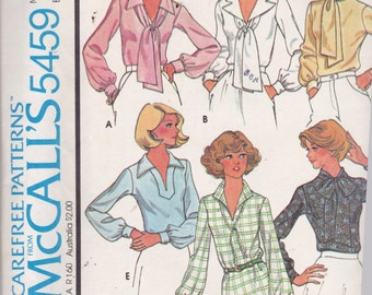McCalls 5459 Vintage Pattern Womens Blouse in 5 Variations Size 14 UNCUT