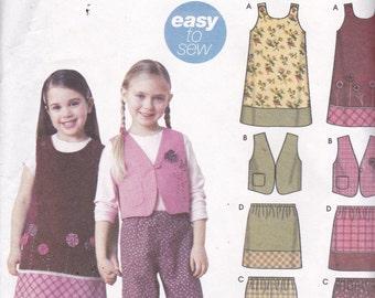Simplicity 5489 Vintage Pattern Girls Jumper, Vest, Skirt and Pants Size 3,4,5,6,7,8 UNCUT