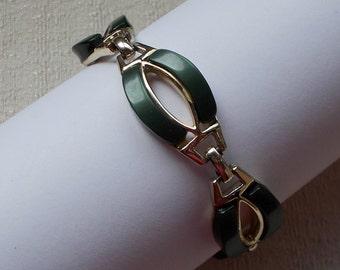 Vintage Deep Green Thermoset Plastic Midcentury Bracelet  2003