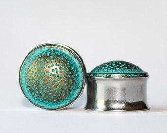 LAST ONE! Clearance: Bronze and Cyan Speckled Plugs, gauges   3/4, 7/8