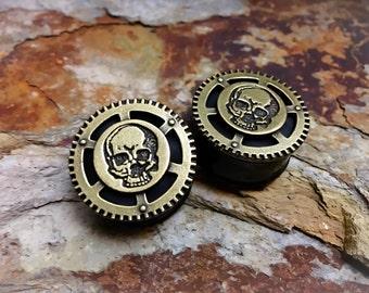 LAST ONE! Steampunk Skull Plugs, gauges   1 inch, 1 1/8