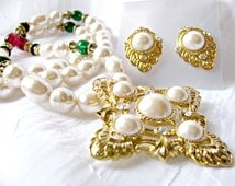 KJL Renaissance Collection Parure, Baroque Pearl Necklace, Jewel Tone Beads, Pierced Earrings, Maltese Cross Pin Pendant, Kenneth J Lane