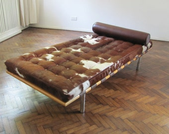 Daybed Cowhide Upholstery Brown and White Sofa Bed