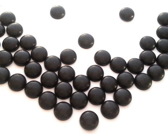 "8mm Matte Black Round Dome Hot Fix Studs  (approx. 1/3"") Metal (HotFix)  Iron On or Glue on Flat Back Studs/ 50 pcs."