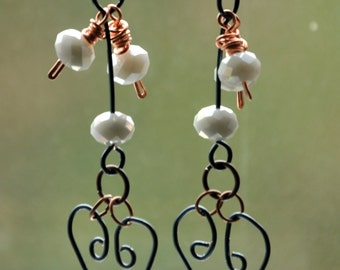Dangling Hearts .. earrings .. dangle .. drop .. unique .. wire .. wearable art .. jewelry lovers .. black jewelry ...