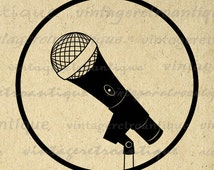 Printable Graphic Microphone Illustration Digital Music Image Download Antique Clip Art Jpg Png Eps 18x18 HQ 300dpi No.2055