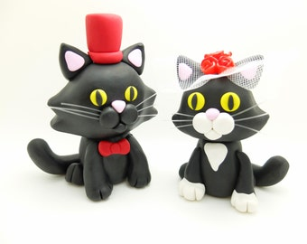 Cat couple wedding cake toppers