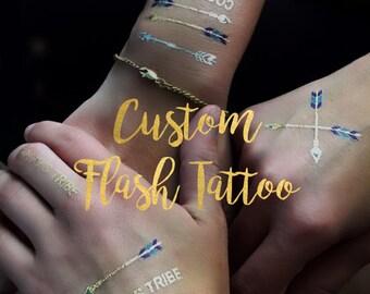 Custom metallic temporary tattoos in a flash!