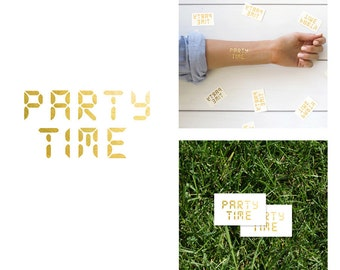 Gold Metallic Party Time Temporary Tattoo