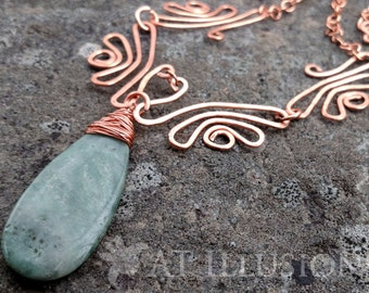 Handmade Hammered Copper Necklace, Green Agate Stone Teardrop Pendant