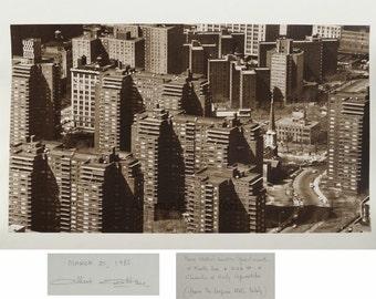 New York City buildings panorama vintage art photo
