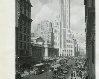 New York Public Library 5th Ave cars buses antique photo Manhattan