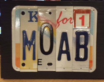 License Plate Sign License Plate letter Art Picture Home Deco MOAB Utah License Plate Letter Sign, Porch sign