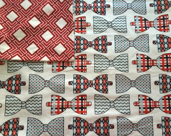 Swaddle, Reversible, Bowties, Geometric Print, Blue, Red, Black, White, Baby Boy, Receiving Blanket, Large Baby Blanket, Baby Shower Gift