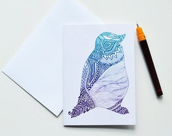 Tribal Penguin Greeting Card | Thank You Card | Birthday Card | Notecard