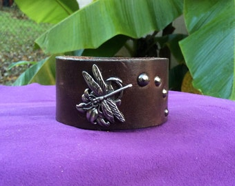 Dark Brown Leather Cuff with Dragonfly