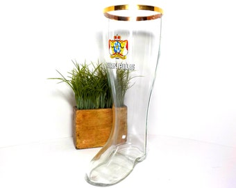 Glass Beer Boot, Large 2 Liter, 13 Inches Tall, Gold Trim, Kirner Pils Beer Boot, German Beer Boot, Kirner Pils Pilsner, Boot Beer Pitcher