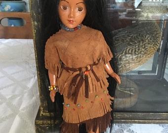 vintage collectible Native Indian girl long black hair Montana Canada
