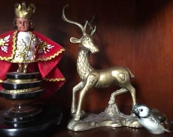"Vintage brass stag deer 10.5"" tall"