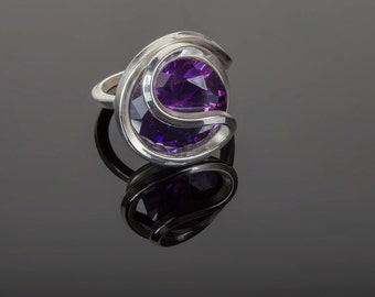 Purple Zircon and silver ring