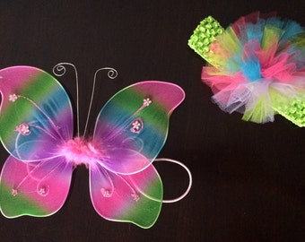 Rainbow Fairy Wings and Pouf Headband