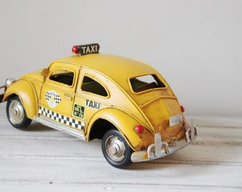 Yellow cab vintage miniature, retro collectible VW yellow cab, vintage tin bug, New York City taxi miniature, early nineties