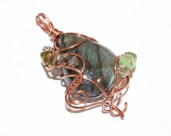 Labradorite Pendant. Wirewrapped Copper Pendant. Fantasy Pendant. Gift For Her. Handmade Gemstone Jewelry.