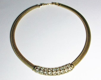 Christian Dior Necklace - Gold Tone with Crystals - S1897