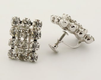 Vintage clear rhinestone earrings, screw back earrings for unpierced ears
