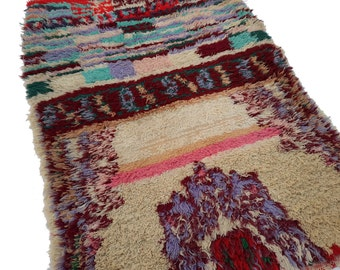 "53""X38"" Vintage Moroccan rug woven by hand from scraps of fabric / boucherouite / boucherouette"