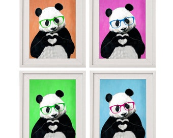 Happy Panda painting, print from my original Panda acrylic painting: serie of 4 prints