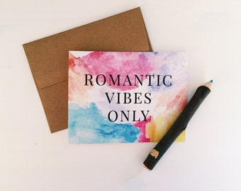 Romantic Vibes Only Cards with Kraft Envelopes - Valentine's Day - Blank Inside - Pack of 10