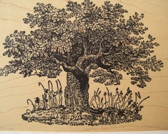 Rubber Stamp Blossom Tree Rubber Stamp Big Tree Rubber Stamp Family Reunion Magenta Stamp LARGE Detailed Tree Rubber Stamp Family Tree Stamp
