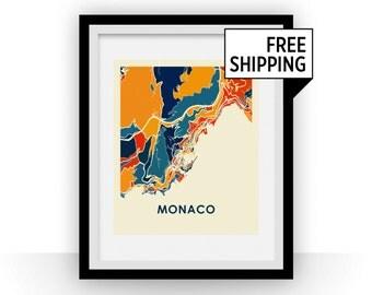Monaco Map Print - Full Color Map Poster