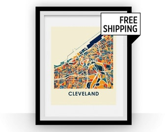 Cleveland Map Print - Full Color Map Poster
