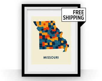 Missouri Map Print - Full Color Map Poster