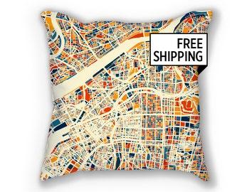 Osaka Map Pillow - Japan Map Pillow 18x18