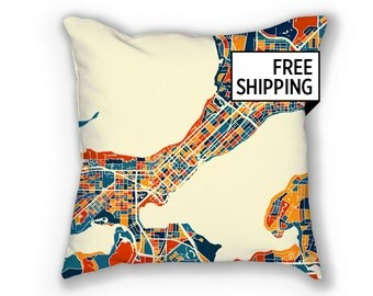 Madison Map Pillow - Wisconsin Map Pillow 18x18