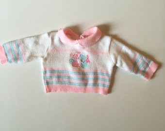 Vintage Newborn Girl Sweater with Pink and Blue Bunny and Collar
