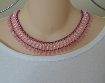 Pink and rose collar necklace