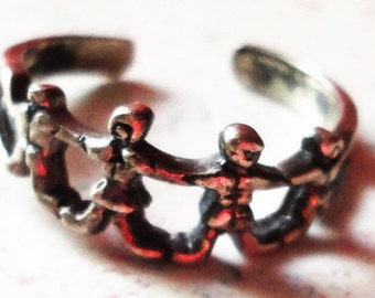 Silver 925 Toe Ring Adjustable Vintage Weighs 1.5 Grams Family of 4