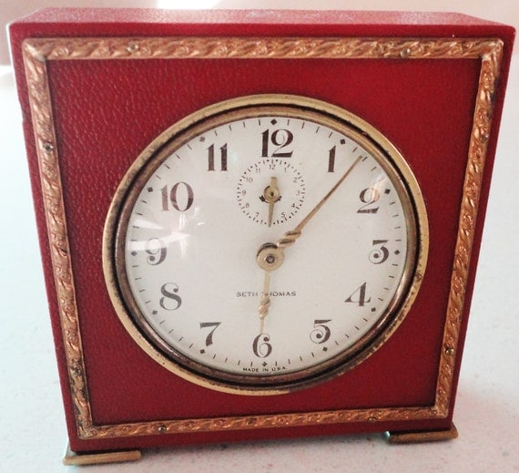 Seth Thomas Wind Up Alarm Clock Burgundy Vintage Made In Usa